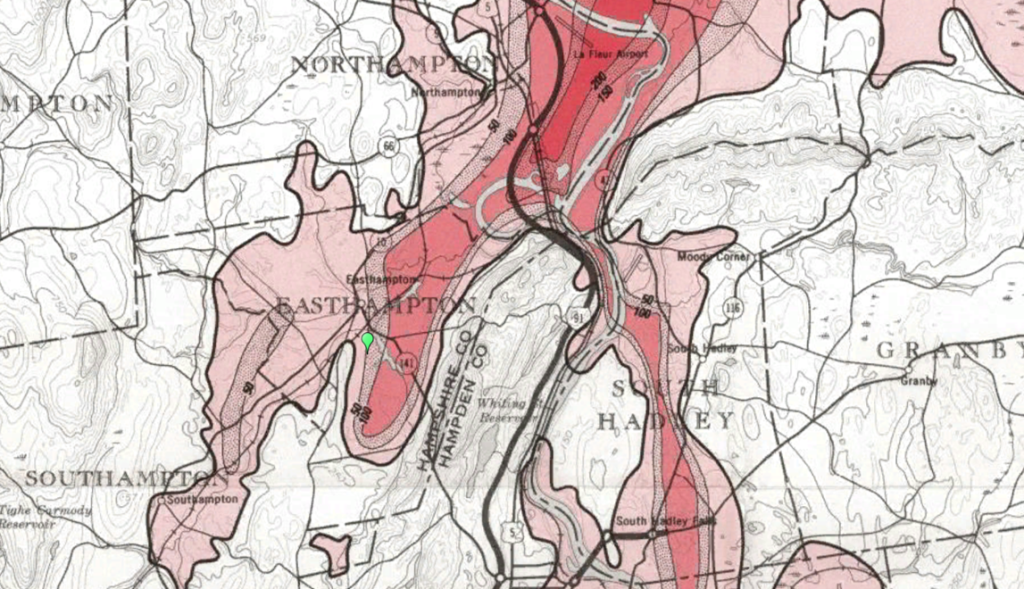 From Langer, William H. Map Showing Distribution and Thickness of the Principal Fine-Grained Deposits, Connecticut Valley Urban Area, Central new England. Department of the Interior, United States Geological Survey, 1979