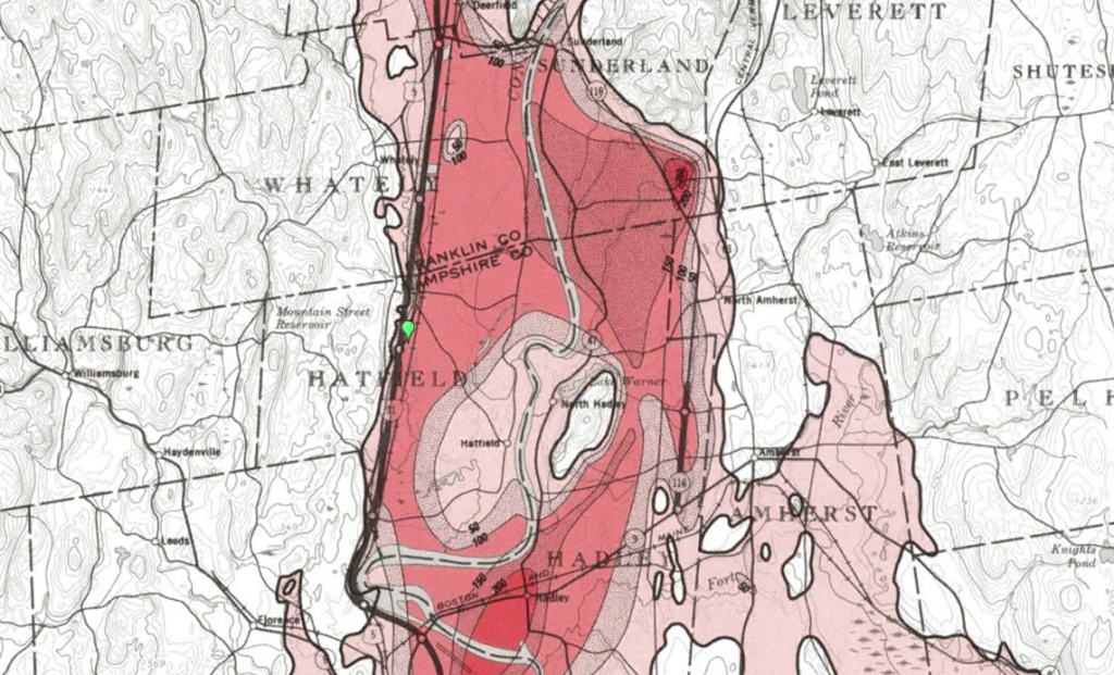 CVVC Deposits Map From Langer, William H. Map Showing Distribution and Thickness of the Principal Fine-Grained Deposits, Connecticut Valley Urban Area, Central new England. Department of the Interior, United States Geological Survey, 1979